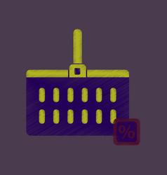 Flat shading style icon supermarket basket vector