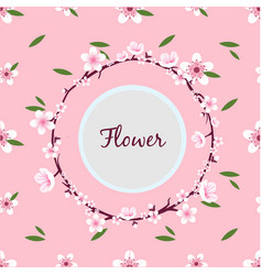 flower sakura ring circle frame pink background ve vector image