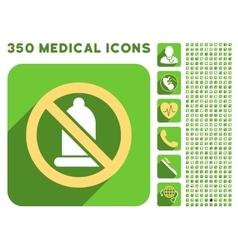 Forbidden Condom Icon and Medical Longshadow Icon vector