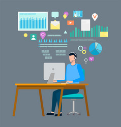 Freelancer with laptop and screens with charts vector