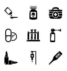 Fumes icons set simple style vector