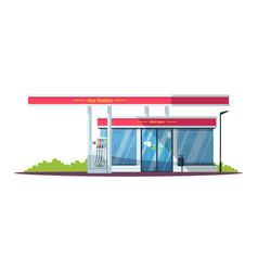 Gas filling station with mini mart semi flat rgb vector
