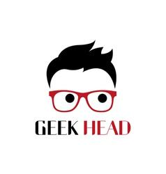 Geek head logo template vector image