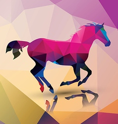 Geometric polygonal horse pattern design vector image