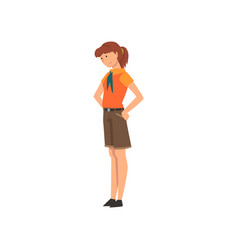 Girl zoo worker volunteer professional zookeeper vector