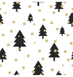 Gold shimmer glitter polka dot and black tree vector image