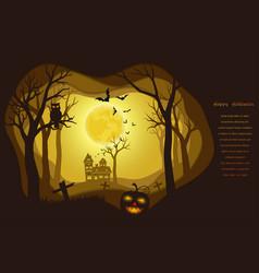 halloween poster on dark paper art background vector image