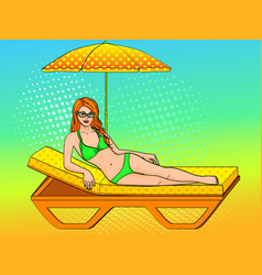 happy beautiful young woman on the beach pop art vector image