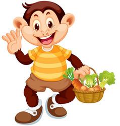 happy monkey with vegetable basket vector image