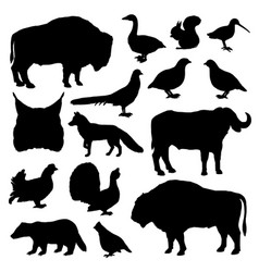 Hunting birds and animals black silhouettes vector