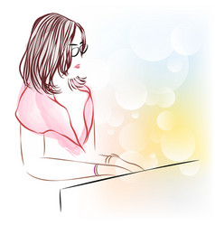 line art of beautiful female playing a piano vector image