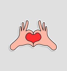 linear sticker like hands make heart vector image