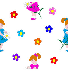 little girl and flowers vector image