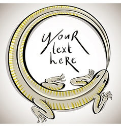 Lizard in round shape with copy space vector