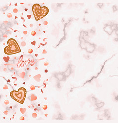 love and gingerbread hearts seamless vertical vector image