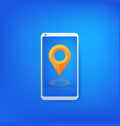 map pointer location mark on screen phone vector image
