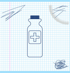 medicine bottle line sketch icon isolated on white vector image