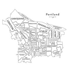 Modern city map - portland oregon city of the usa vector