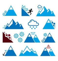 Mountains avalanche snowslide- natural disaster vector