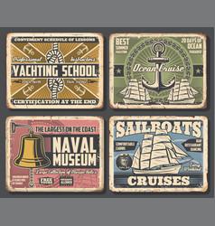 Nautical ship anchor sailboat rope compass bell vector