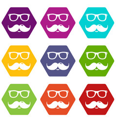 Nerd glasses mustaches icons set 9 vector