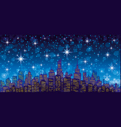 Night city in the lights vector