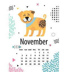 November page calendar vector