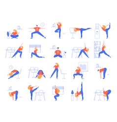 office yoga exercises fitness and yoga workout vector image