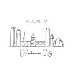 one continuous line drawing oklahoma city skyline vector image
