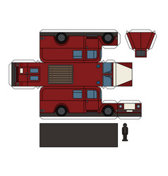 Paper model of a classic fire truck vector