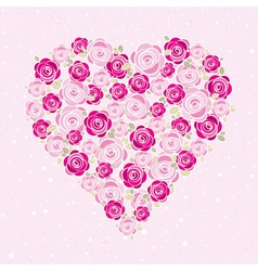 pink valentine heart with roses vector image