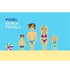 Pixel Beach family vector image