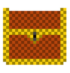 pixelated wooden chest icon vector image