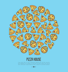 Pizza concept in circle with thin line icons vector