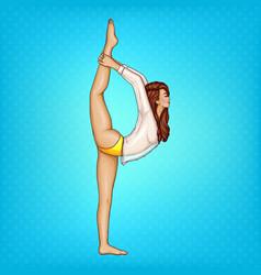 pop art girl doing gymnastics or yoga vector image