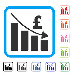 Pound recession bar chart framed icon vector