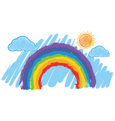 Rainbow in the blue sky vector