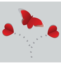 Red paper butterfly and hearts2 vector image