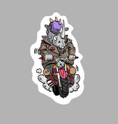 rhinoceros riding a motorcycle sticker cartoon st vector image