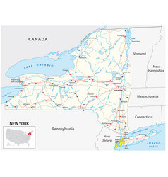 Road map us american state new york vector
