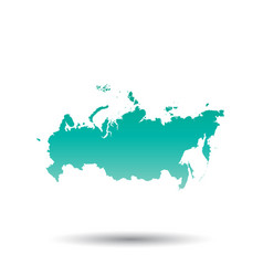 Russia russian federation map colorful turquoise vector