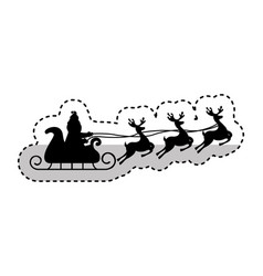 Santa claus carriage with reindeer flying isolated vector