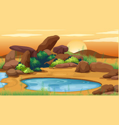 Scene with little pond in field vector