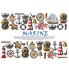 sea ship nautical anchor sailor boat helm vector image