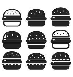 set black and white hamburger icons vector image