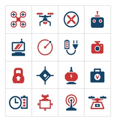 Set color icons of quadrocopter and drone vector