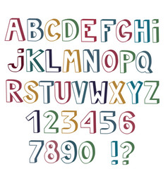 Set of cute colored letters and numbers with 3d vector