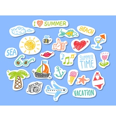 Set stickers with sketch element summer theme vector