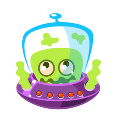 Shivering green alien cute cartoon monster vector