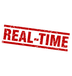 square grunge red real-time stamp vector image